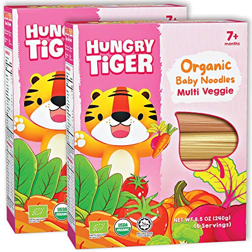 Hungry Tiger Organic Baby Noodles - Multi Veggie 6 flavours, No preservatives, Vegan, Keto, Alternative to pasta, 8.5oz, 6 portions/pack (Pack of 2)