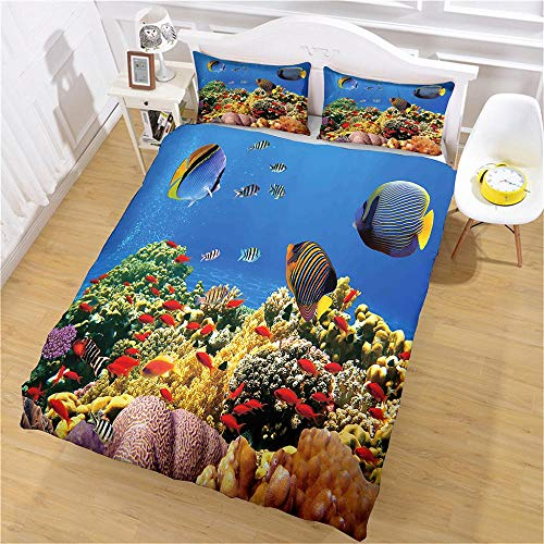QNZOR Duvet Cover Sets Pillowcases Bedding Super King Sea fish Print Polyester Breathable 2 pillowcases with Zipper Boys Girls Home Decoration 102.4 x 90.6 inch
