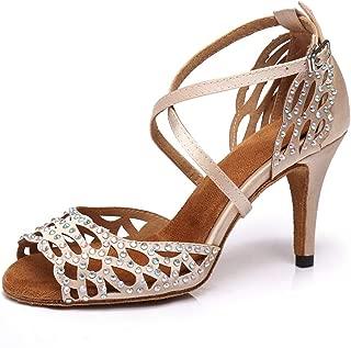 YKXLM Women's Professional Rhinestone Ballroom Wedding Dance Shoes Latin Salsa Performance Practice Dance Shoes,Model AUYCL385