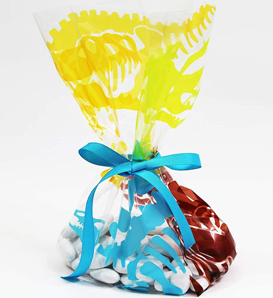 Dino Cellophane Treat Party Favor Bags with Grosgrain Ribbon Ties. Pack of 12 Large Goodie Gift Bags for Kids, Boys, Girls, Birthday, Baby Shower Celebrations. Multicolor
