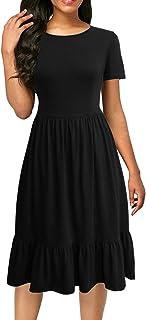 Women's Short Sleeve Black Summer Dresses Work Casual Ruffle Midi Dresses with Pockets