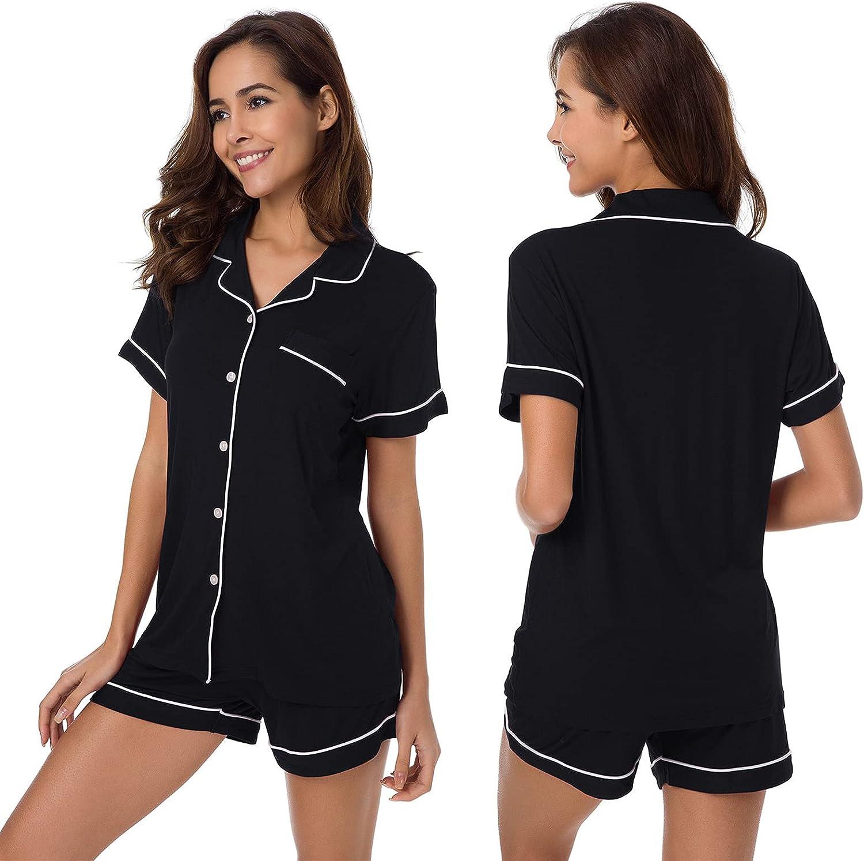 SIORO Womens Pajamas Set Short Cotton Max 60% OFF Sleeve Pj Regular discount Down Button