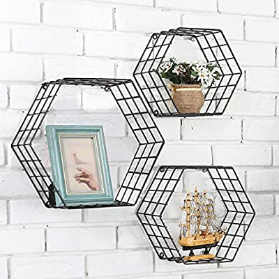 Three Hexagon Floating Shelves in Black Metal Wire