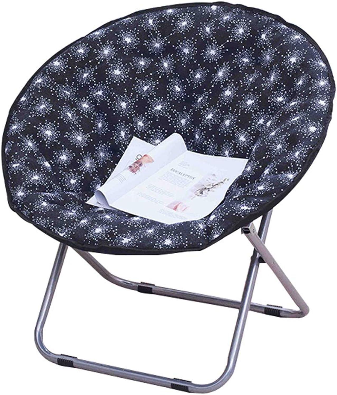 Folding chair, European Style Living Room Lounge chair, Round Garden Sun Lounger Travel Portable Lazy chair, Art backrest Stool Rest chair Canvas Linen, Multi-color Optional