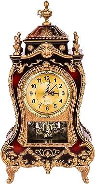 Fugeruisi Horloge de bureau vintage rétro - Style européen - Style baroque - Décoration pour le salon, l'hôtel - Réveil d
