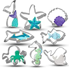 Bonropin Under The Sea Creatures Cookie Cutter Set - 8 Piece Stainless Steel Cutters Molds Cutters for Making Shark, Merma...