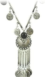 MAIDIEN Coin Tassels Hippie Boho Bohemian Boho Statement Necklace for Women Girls