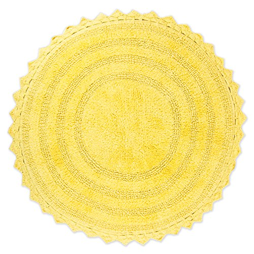 "DII Crochet Collection Reversible Bath Mat, Round, 27.5"" Diameter, Yellow"