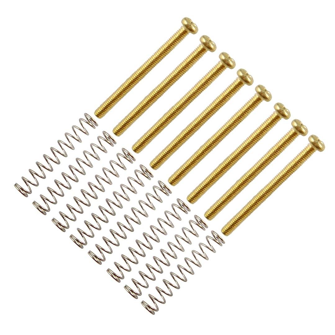 沿って西部通訳Fenteer 耐久性 高品質 金属 ハムバッカー ダブルコイル ピックアップフレーム ネジ スプリング ギター 楽器パーツ 全3色 - ゴールド