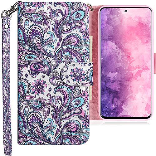 CLM-Tech Hülle kompatibel mit Samsung Galaxy S20 Plus - Tasche aus Kunstleder - Klapphülle mit Ständer & Kartenfächern, Blume Ornament lila blau