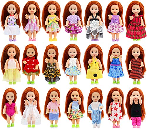 ZITA ELEMENT Random Style 10 Sets Fashion Cute Doll Clothes Dress for 4 Inch Kelly Doll Clothes Outfits