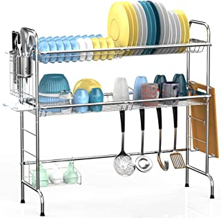 Over the Sink Dish Drying Rack, Veckle 2 Tier Dish Rack Easy Install Dish Drainer Non-Slip Stainless Steel Dish Dryer, Utensil Holder Cutting Board Holder Kitchen Counter Shelf Storage Rack, Silver
