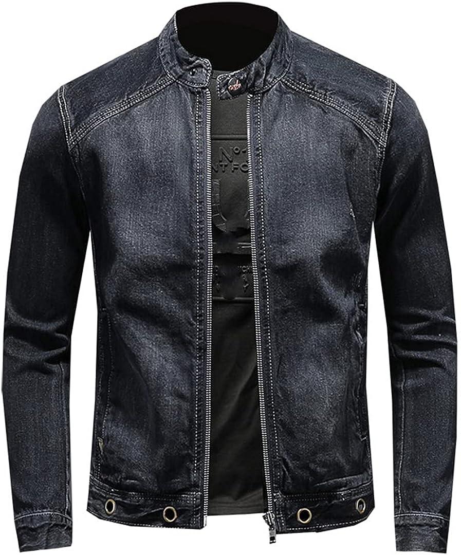 Men'S Motorcycle Biker Jeans Jackets Patchwork Denim Slim Fit Streetwear Vintage Jacket