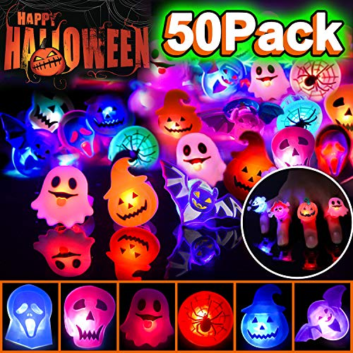 50 Pack LED Light Up Ring for Kids Halloween Birthday Party Favors Flashing Glow in The Dark Rave Halloween Party Supplies Boys Girls Soft Toy Rubber Ghost Pumpkin Skeleton LED Finger Lights Best Gift