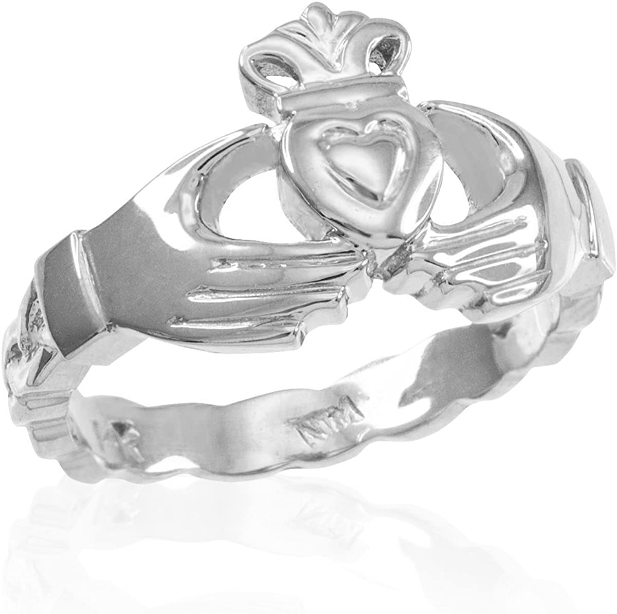 Solid Popular brand 925 Sterling Silver Celtic Wedding Claddagh Engagemen Band Albuquerque Mall