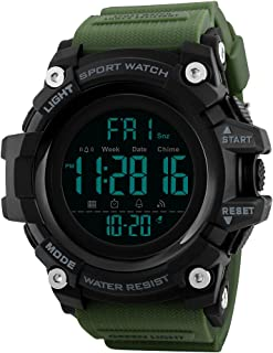 TONSHEN Multifunction Digital Sport Watch for Men Large Plastic Case with Rubber Band 50M Waterproof Outdoor Military LED Electronic Double Time Stopwatch Alarm Countdown Watches (Green) …
