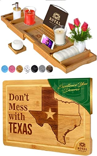 high quality Luxury Bathtub Caddy Tray and State Cutting Board for Kitchen – Texas sale by Royal Craft high quality Wood outlet sale