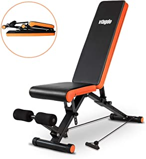 VIAGDO Adjustable Weight Bench Foldable Utility Workout Bench for Home Gym Strength Training, 8 Positions, 660 LBS Capacity Flat/Incline/Decline Bench for Full Body Workout Exercise