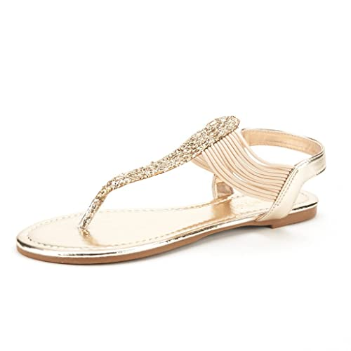 d914ee87bae DREAM PAIRS SPPARKLY Women s Elastic Strappy String Thong Ankle Strap  Summer Gladiator Sandals