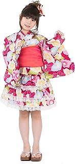 浴衣ドレス キッズ ラメ入り フリル レース シフォン帯 兵児帯 セット 夏祭り 花火大会 納涼祭 女の子 女児 ガールズ 100cm 110cm 120cm 130cm 140cm