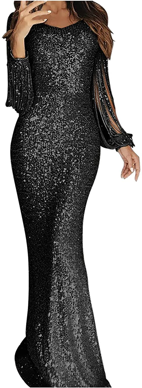 FlekmanArt Womens Elegant Tassel Wrap Dresses Slim Fit Solid Color Elegant Business Office Cocktail Pencil Professional Dress