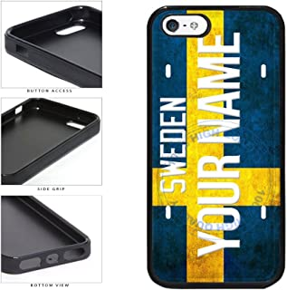 BleuReign(TM) Personalized Custom Name License Sweden Plate TPU RUBBER SILICONE Phone Case Back Cover For Apple iPhone 5 5s and iPhone SE