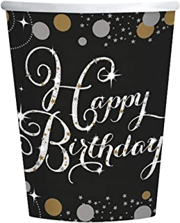 Amscan 9900550 266 Ml Gold Celebration Happy Birthday Paper Cup