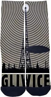 Men's Women's Custom Crew Socks Polish Gliwice Radio Tower Socks Colorful Patterned Comfortable Socks