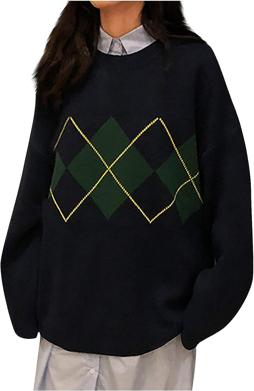 ksowam Women's Oversized Knit Sweater Long Sleeve Crewneck Pullover Y2K Argyle Plaid E-Girls Preppy Style 90s Knitwear Top