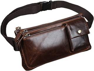 Oil Wax Leather Fanny Pack Vintage Waist Bag for Men Hip Bum Belt Purse Travel Hiking Cell Phone Clutch Pouch Handbag