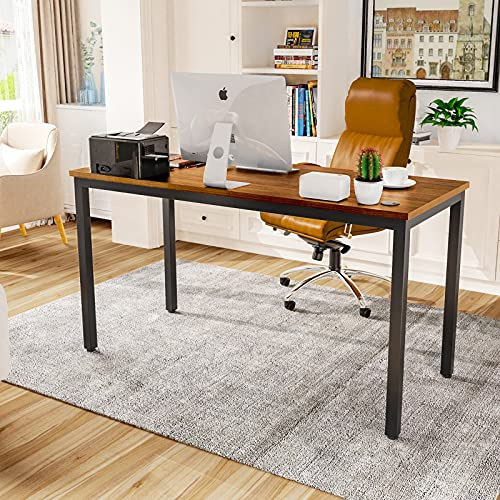 EUREKA ERGONOMIC 47 Inch Teak Home Office Computer Desk, Simple Modern Sturdy Work Study Writing PC Gaming Table for Large Spaces in Adults Teens Kids Bedroom Corner with Black Legs