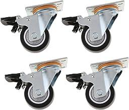 Sharplace 4 x PU draaibare meubelwielen met rem - 10,2 cm