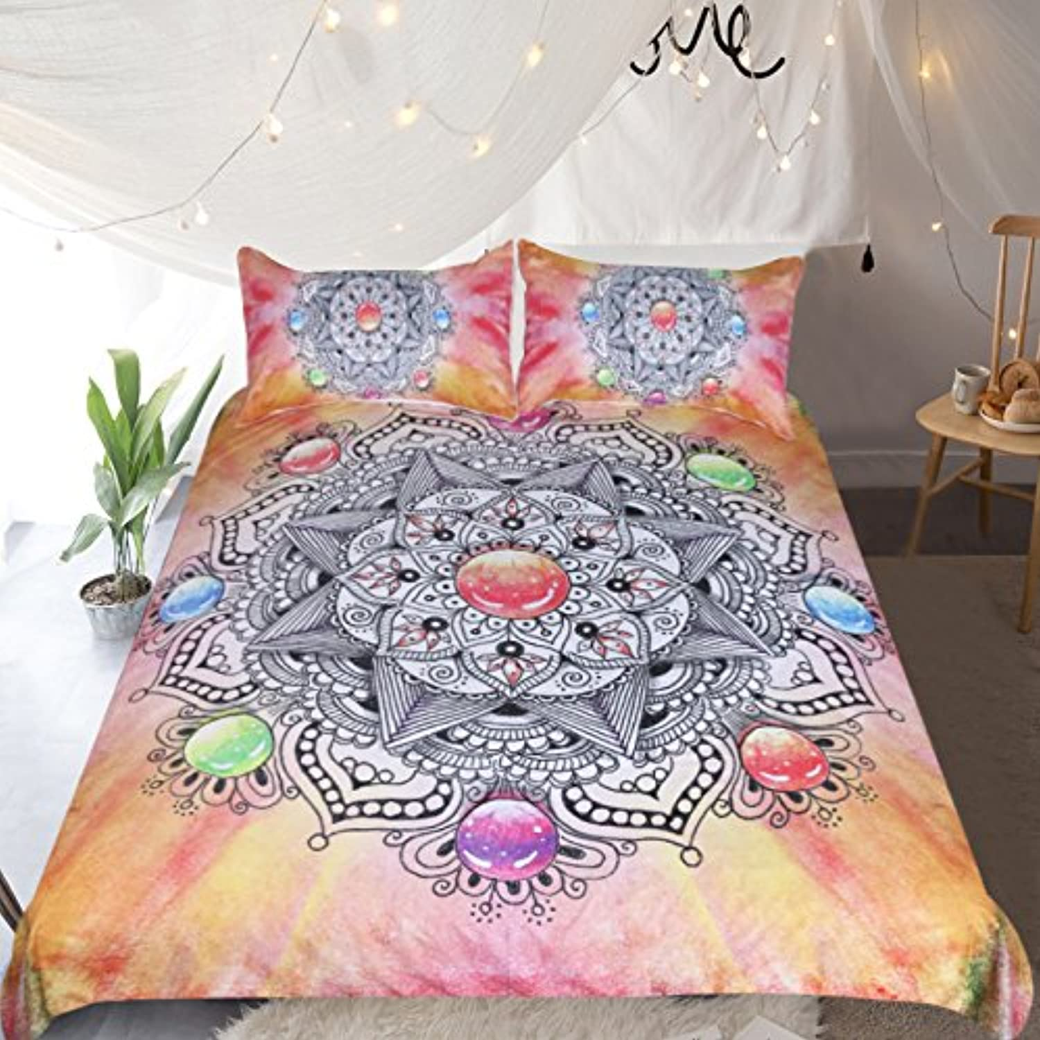 Sleepwish Pink and orange Tie Dye Bedding Girls Crystal Mandala Bedspread Flower Chakra Duvet Cover 3 Piece Indian Style Bed Covers (Full)