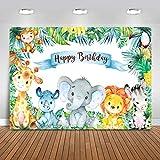Avezano 2,2x1,5m Fondo de fiesta de cumpleaños con temática de safari, animales de la selva, bebé, león, elefante, fondo de fotografía para niños, niño, niña, banner de fiesta de cumpleaños