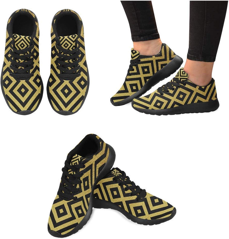 Women's Jogging Running Sneaker Lightweight Go Easy Walking Casual Comfort Running shoes gold Black Stripe Prints