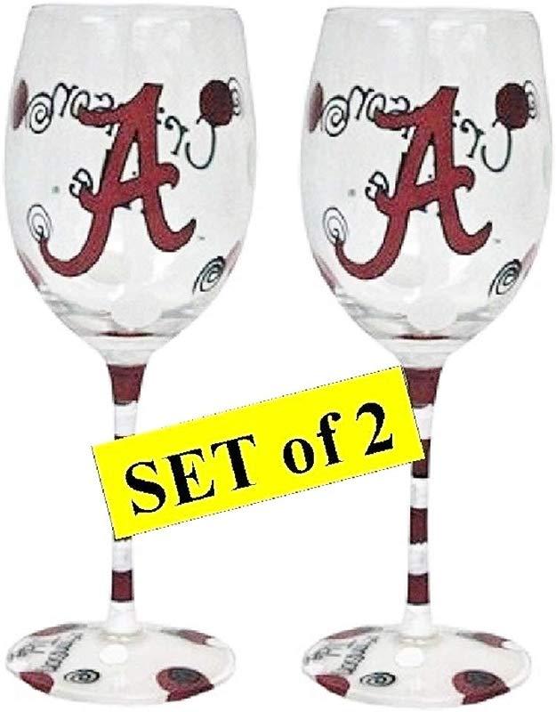 Set Of 2 Alabama Crimson Tide Hand Painted Wine Glasses