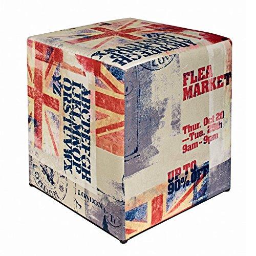 Kaikoon Pouf Cube Imprimé Go Drapeau 35 cm x 35 cm x 42 cm