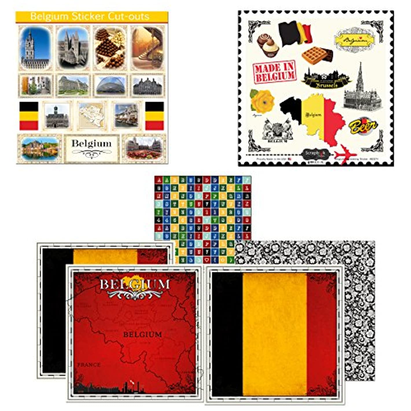 Scrapbook Customs Themed Paper and Stickers Scrapbook Kit, Belgium Sightseeing