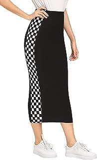 Women's Elegant Grid Print High Waist Bodycon Pencil Midi Mid-Calf Skirt