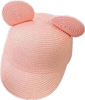 037b7c1dee654 HomArt Kids Straw Peaked Cap Mickey Ear Breathable Sun Protection Visor Hat