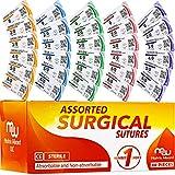 Sutures Thread with Needle (30PK Mix Absorbable: Chromic; Non-Absorbable: Silk, Nylon, Pol...