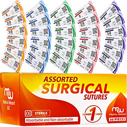 Sutures Thread with Needle (30PK Mix Absorbable: Chromic; Non-Absorbable: Silk, Nylon, Polyester, Polypropylene: 0,2-0,3-0,4-0,5-0,6-0) - Surgical Stitch Kit; Medical, Vet, RNs Hospital Training