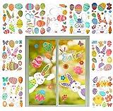 LAMEK 9 Fogli Adesivi Finestre Pasqua,Adesivi Decorazioni Coniglietto di Uova Porta Vetro, Porta, Pavimento, Specchio, Frigorifero Riutilizzabili Decorazioni in PVC per Feste di Pasqua
