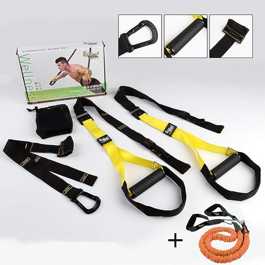 説教する喉頭批判プルロープ男性の胸の抵抗運動家スクワットフィットネス機器と吊り訓練 (色 : Fitness package+elastic rope)