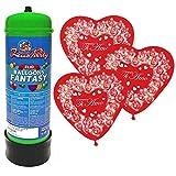 Zeus Party BOMBOLA Gas Elio da 30 / 35 + 25 Palloncini Cuore Ti Amo Omaggio San Valentino Amore