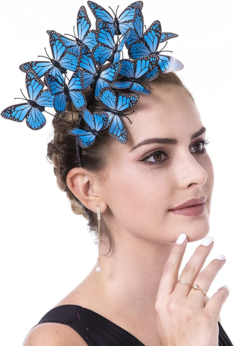 SAFERIN Butterfly Large discharge sale Fascinator Hat Kentucky Fascinators Derby Hall Ranking TOP12