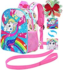 "Toddler Backpack Leash, 10.5"" Unicorn Safety Harness Bag Sequin - Removable Tether"