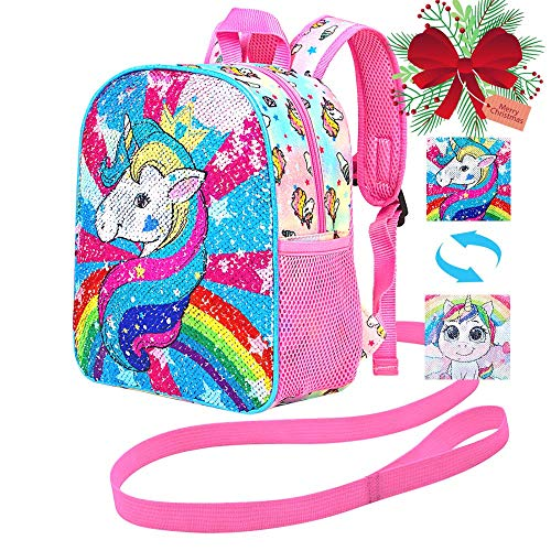 """Toddler Backpack Leash, 10.5"""" Unicorn Safety Harness Bag Sequin - Removable Tether"""