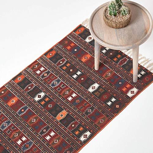 Homescapes Kelim-Teppich, handgewebt aus Baumwolle, 120 x 170 cm, bunter Baumwollteppich mit geometrischem Muster und Fransen
