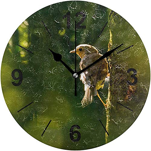 L.Fenn Wandklok, ronde boom, natuurgras, buitenkant, vogeldiameter, geruisloos, decoratief voor thuis, kantoor, keuken, slaapkamer